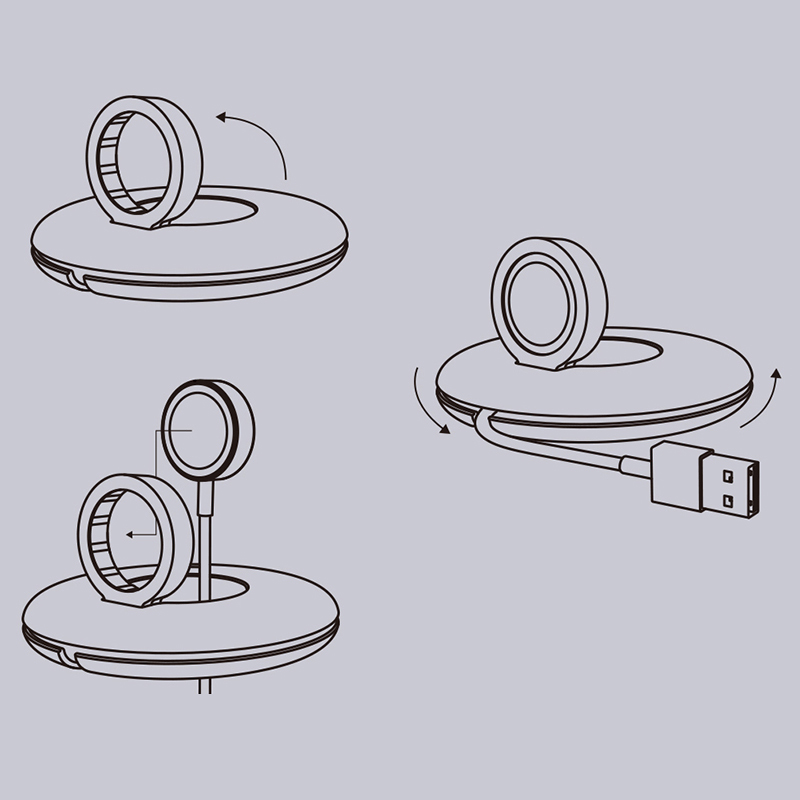 Portable iWatch Charger Stand Dock Bottom Put USB Cable AWB06_9
