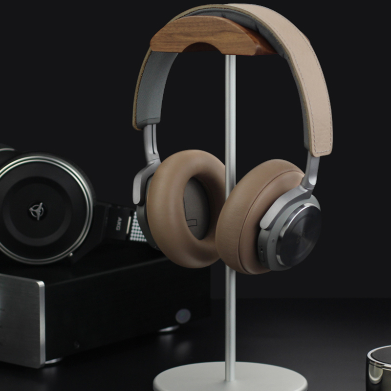 Universal Aluminum Alloy Headphone Holder Stand With Wood Hanger BTE05_11
