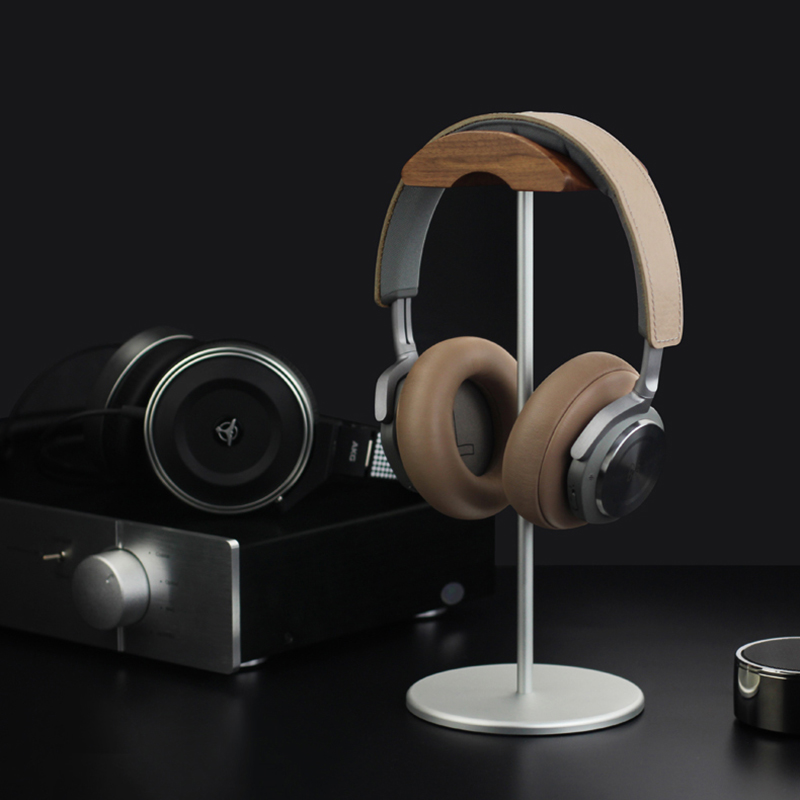 Universal Aluminum Alloy Headphone Holder Stand With Wood Hanger BTE05_12