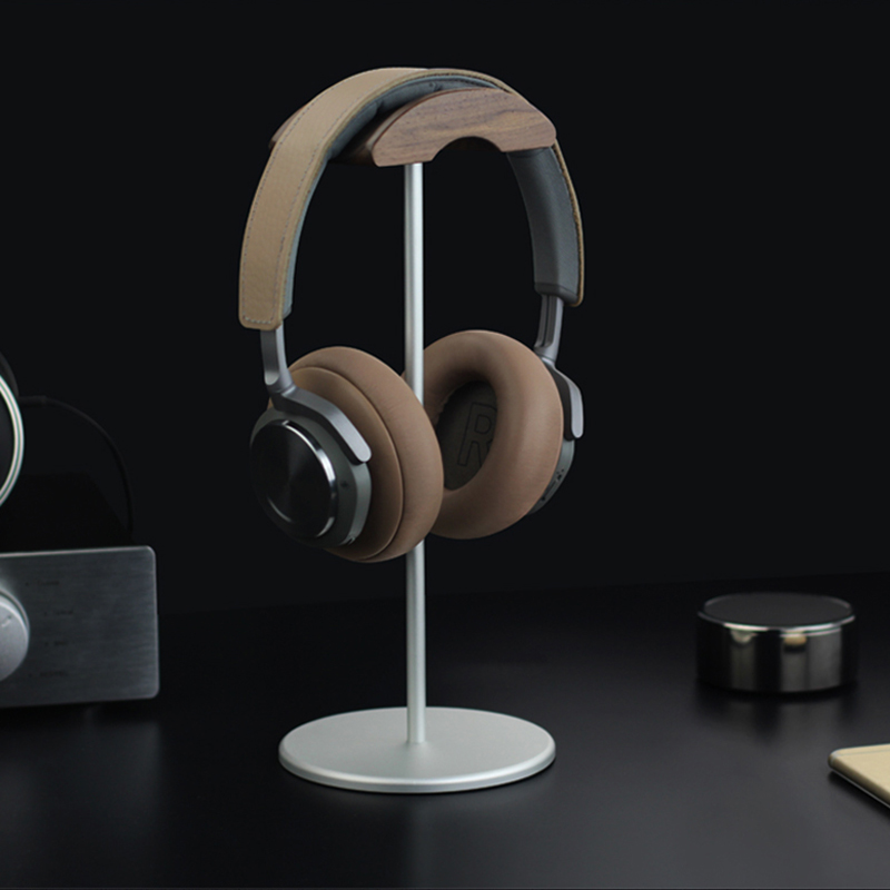 Universal Aluminum Alloy Headphone Holder Stand With Wood Hanger BTE05_13