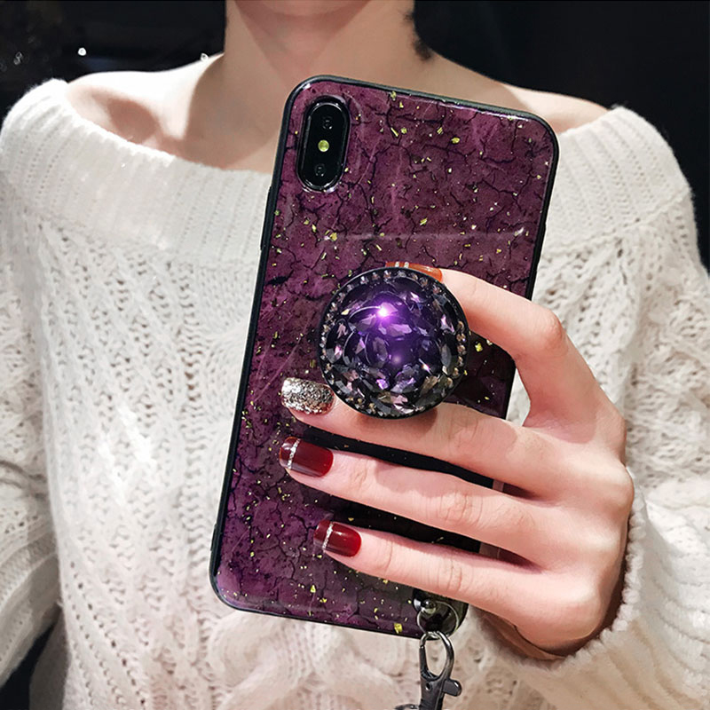 Luxury Rhinestone Silicone Case With Lanyard Stand For iPhone 6 7 Plus X XR XS Max IP6S09_10