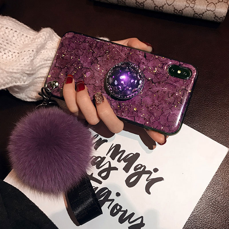 Luxury Rhinestone Silicone Case With Lanyard Stand For iPhone 6 7 Plus X XR XS Max IP6S09_8