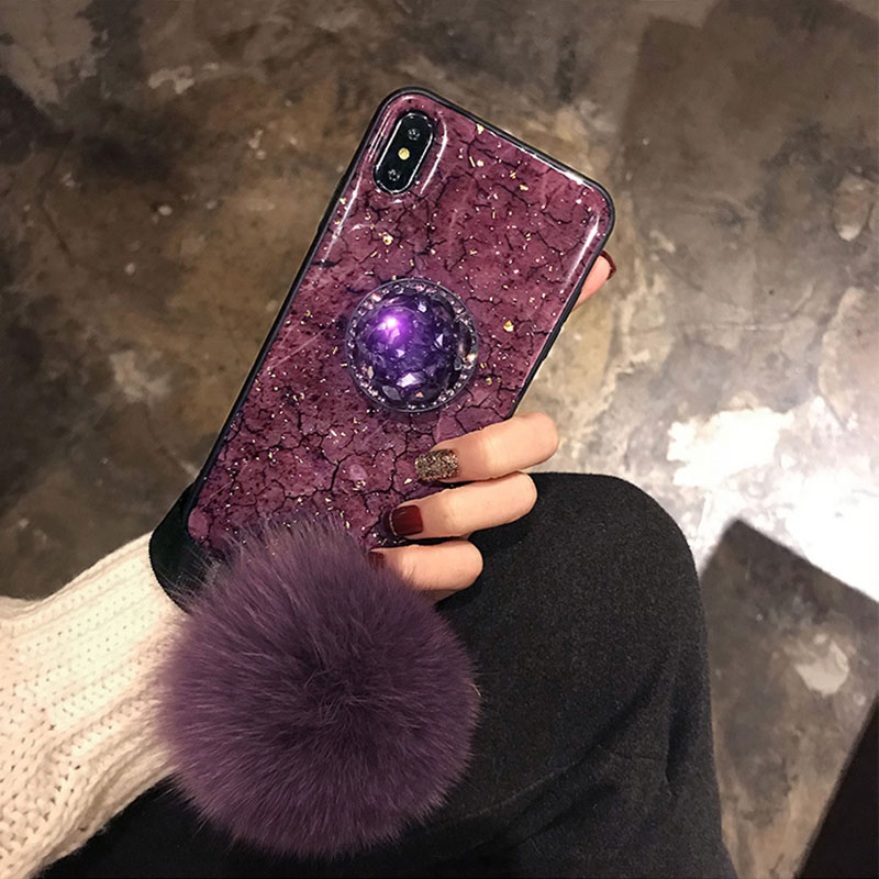 Luxury Rhinestone Silicone Case With Lanyard Stand For iPhone 6 7 Plus X XR XS Max IP6S09_9