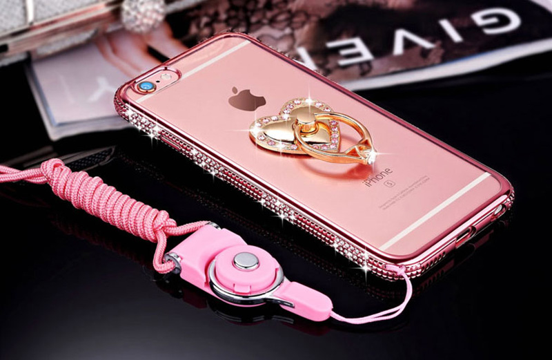 Perfect Diamond iPhone 8 7 6 6S Plus Case With Heart-shaped buckle And Lanyard IP6S13_13