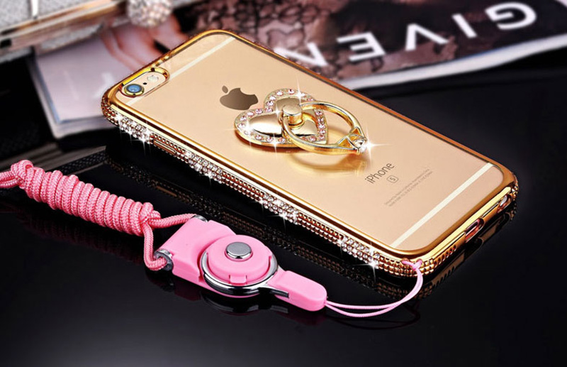 Perfect Diamond iPhone 8 7 6 6S Plus Case With Heart-shaped buckle And Lanyard IP6S13_14