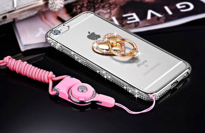 Perfect Diamond iPhone 8 7 6 6S Plus Case With Heart-shaped buckle And Lanyard IP6S13_15