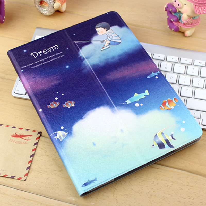 Best Leather iPad Air And iPad Air 2 Cover With HD Cartoon Drawing IPCC04_23