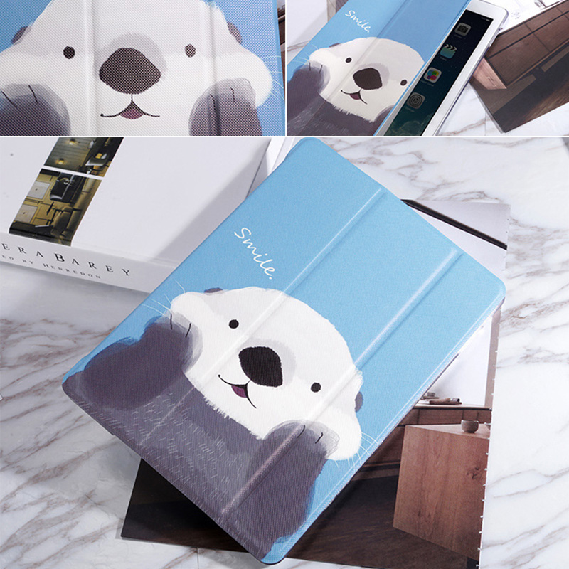 White Bear Sea Otter Pattern Cover For iPad Mini Air Pro New iPad IPCC06_10