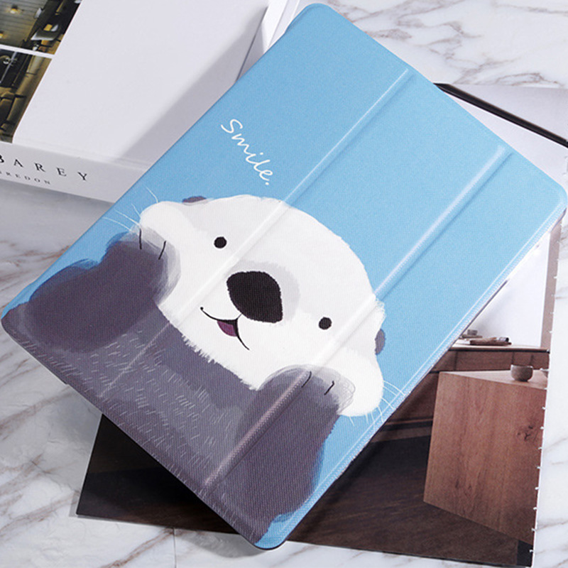 White Bear Sea Otter Pattern Cover For iPad Mini Air Pro New iPad IPCC06_7