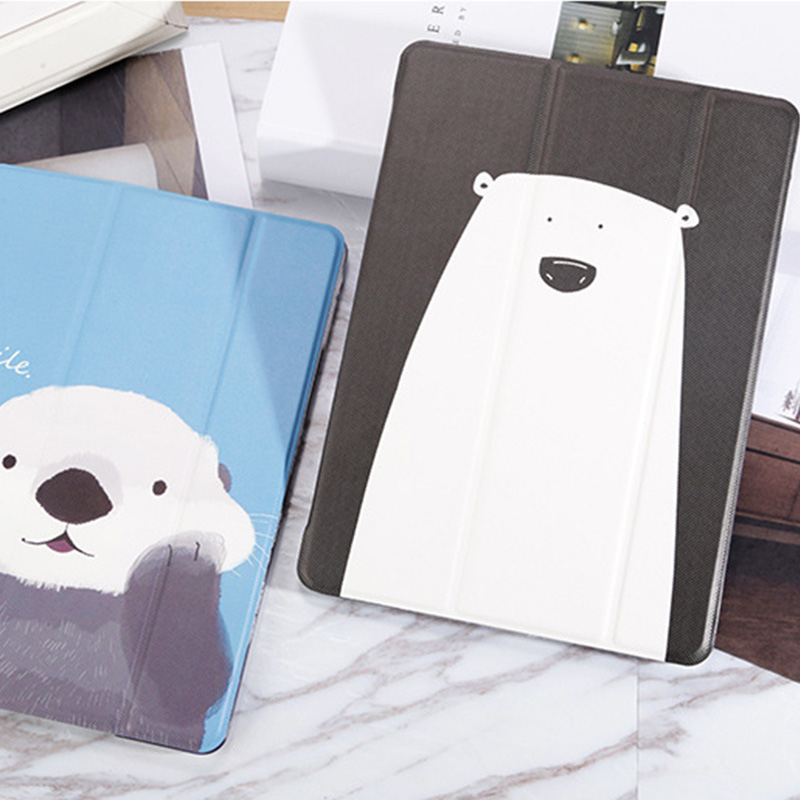 White Bear Sea Otter Pattern Cover For iPad Mini Air Pro New iPad IPCC06_8