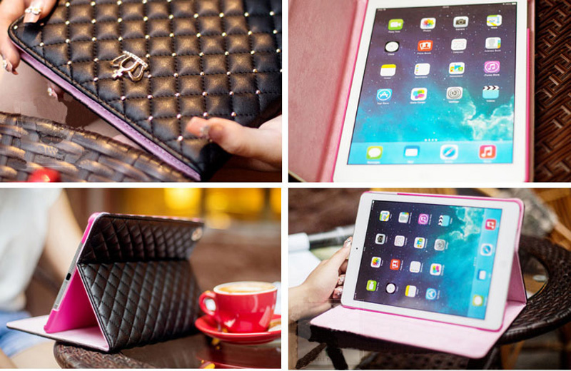 Best Luxury Black Pink Smart Covers Cases For iPad Air 2 IPCC07_5