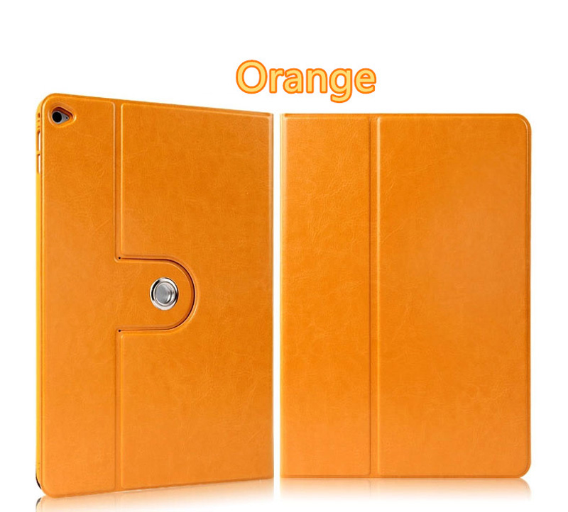 360 Rotation Orange Best Leather Apple iPad Air 2 Cases IPCC09_3