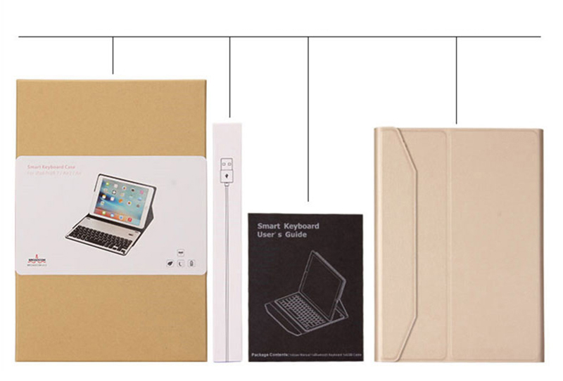 Protective Leather Case With Keyboard For iPad 2017 Air 2 iPad Pro 9.7 12.9 Inch IPCK06_13