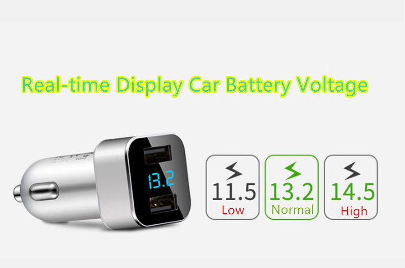 Monitor Car Voltage Cigarette Lighter Adapter With 2 Charging Port IPGC08_11