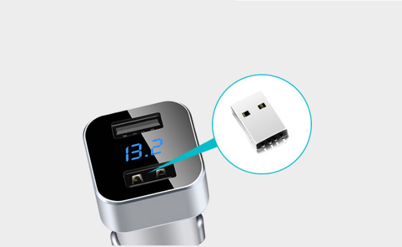 Monitor Car Voltage Cigarette Lighter Adapter With 2 Charging Port IPGC08_15