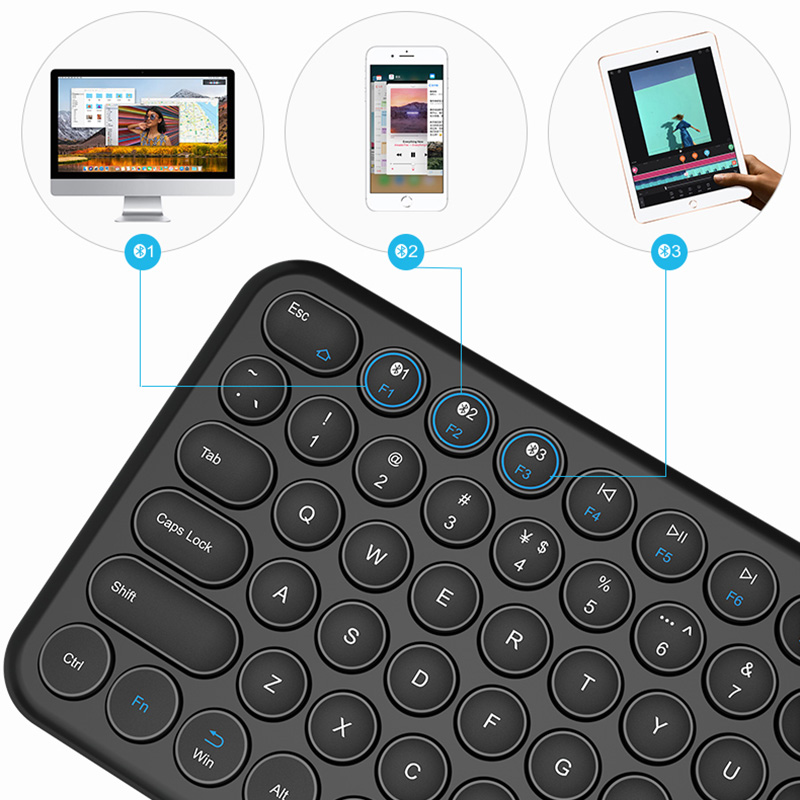 Retro Round Keycap Keyboard For Tablet Phone PC IPK01_7