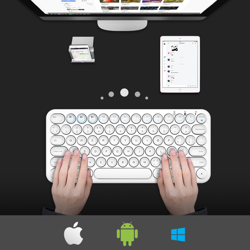 Retro Round Keycap Keyboard For Tablet Phone PC IPK01_8