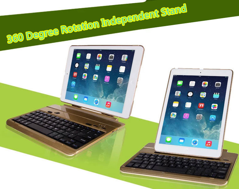 Best 360 Degree Rotation Removable Gold iPad Air 2 Keyboard IPK06_7