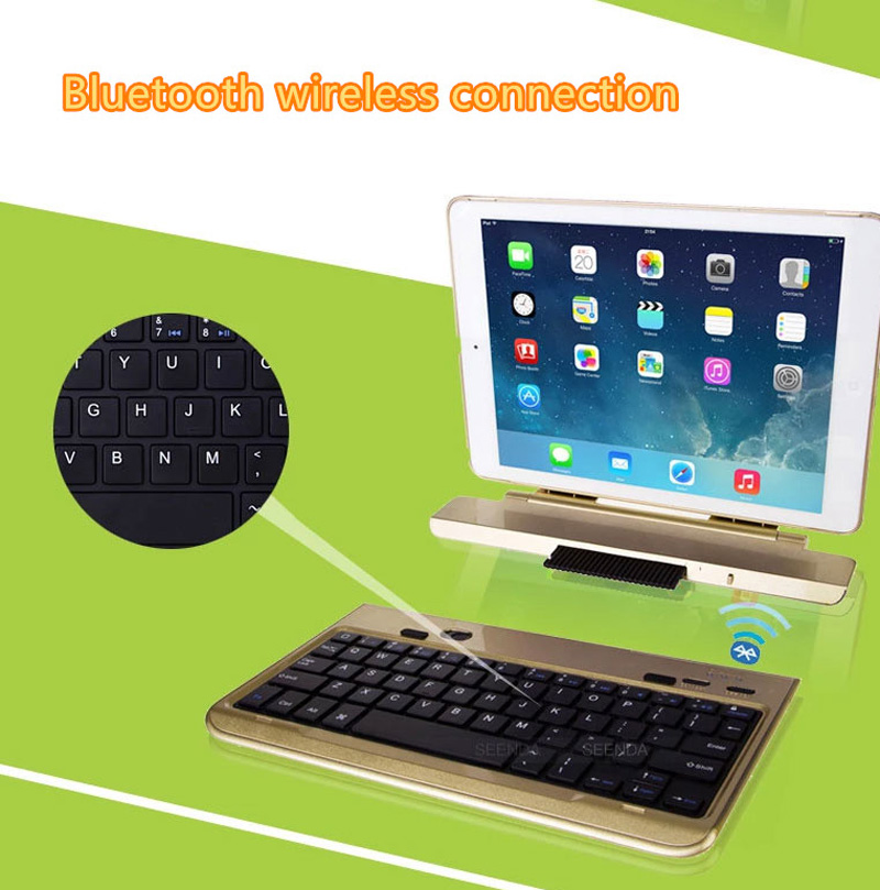 Best 360 Degree Rotation Removable Gold iPad Air 2 Keyboard IPK06_8