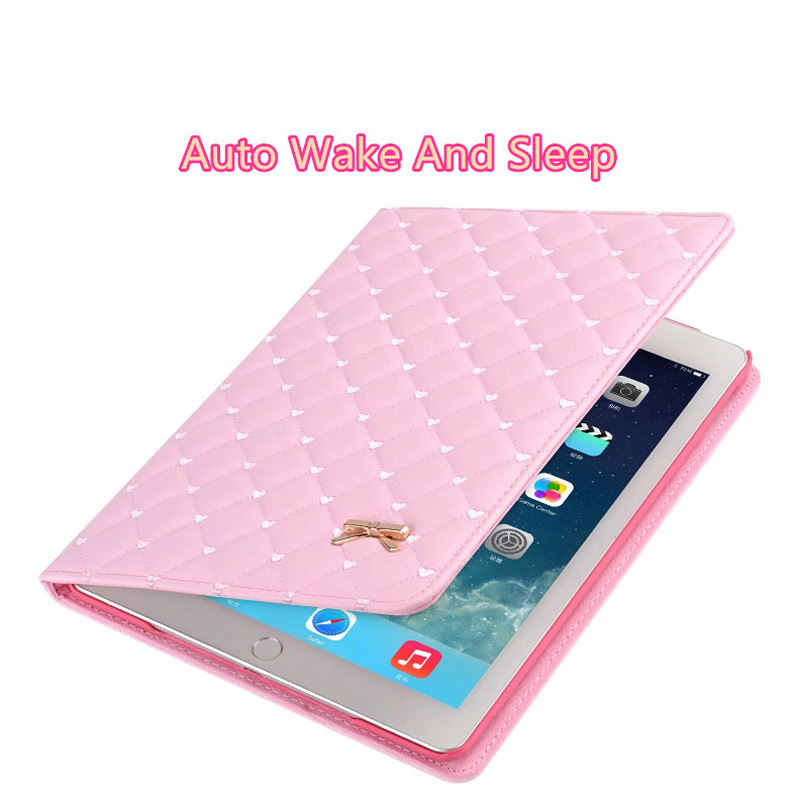 Pink Imitation Leather iPad Mini 3/2/1 Cases And Covers With Nice Bow IPMC307_11