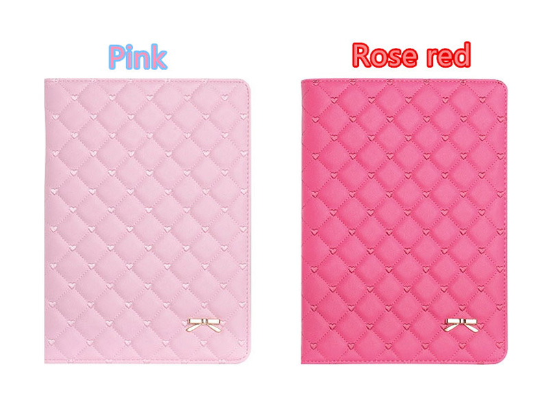 Pink Imitation Leather iPad Mini 3/2/1 Cases And Covers With Nice Bow IPMC307_13