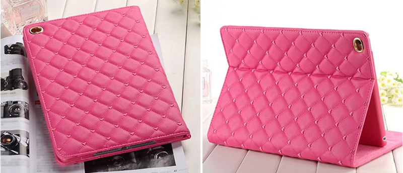 Pink Imitation Leather iPad Mini 3/2/1 Cases And Covers With Nice Bow IPMC307_16