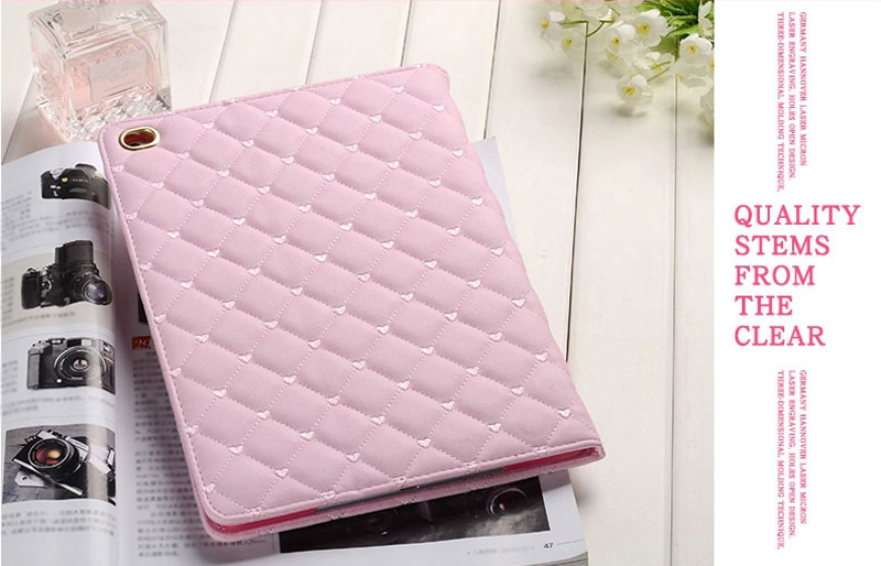 Pink Imitation Leather iPad Mini 3/2/1 Cases And Covers With Nice Bow IPMC307_8