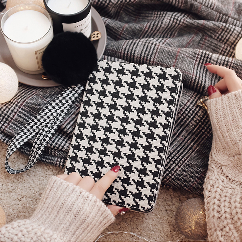 Plaid Pattern Cover For 2018 New iPad Pro Mini Air With Rabbit Hair Ball IPPC09_12
