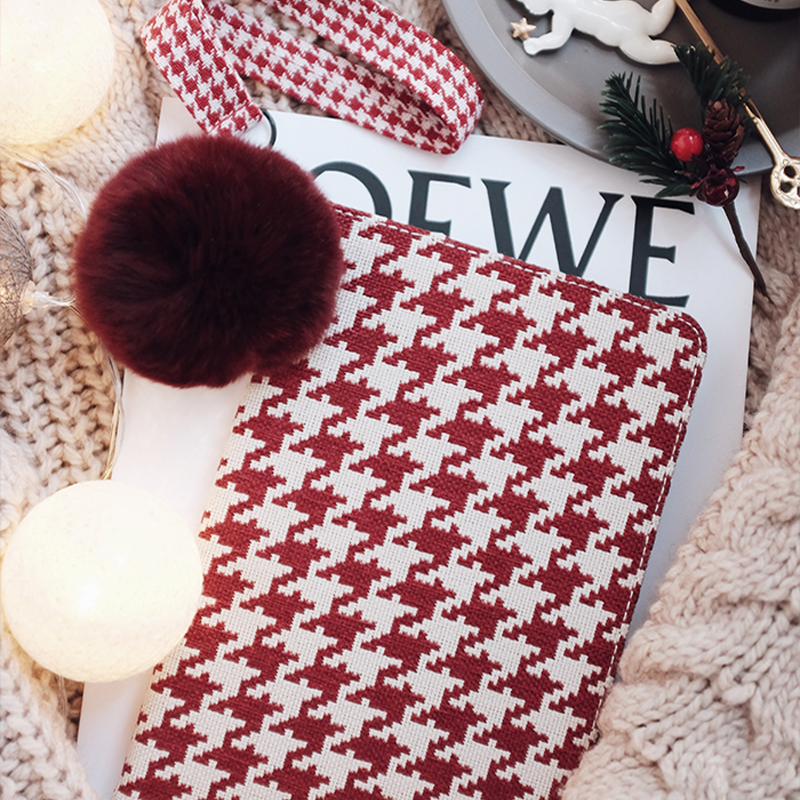 Plaid Pattern Cover For 2018 New iPad Pro Mini Air With Rabbit Hair Ball IPPC09_8