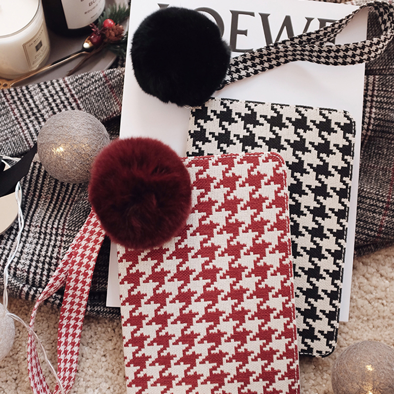 Plaid Pattern Cover For 2018 New iPad Pro Mini Air With Rabbit Hair Ball IPPC09_9
