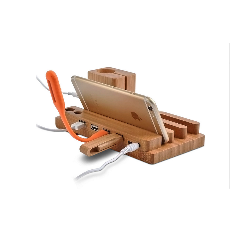 Wood Stand For Apple Watch iPhone iPad Charging Base IPS10_10