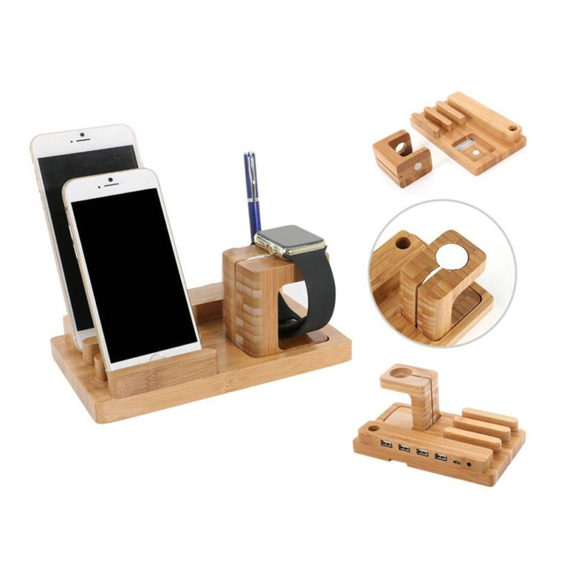 Wood Stand For Apple Watch iPhone iPad Charging Base IPS10_9