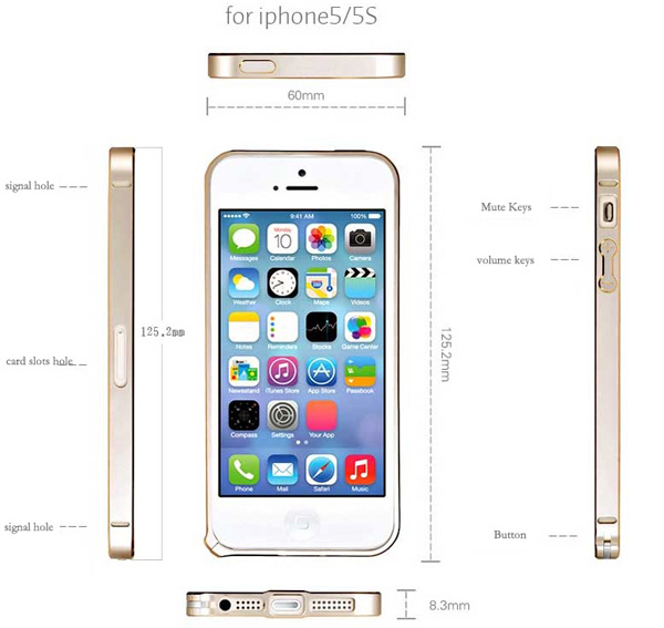 Gold Iphone 5 Bumper Protection IPS502_17