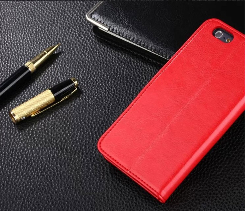 Cheap Black Leather iPhone 6 And 6 Plus Phone Wallets Case With A Card Holder IPS614_16