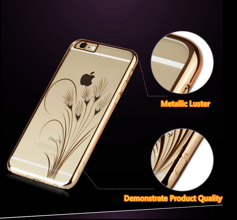 Ultra-thin Transparent Protective Sleeve Cases With Flower Diamond For iPhone 6 And Plus IPS625_11