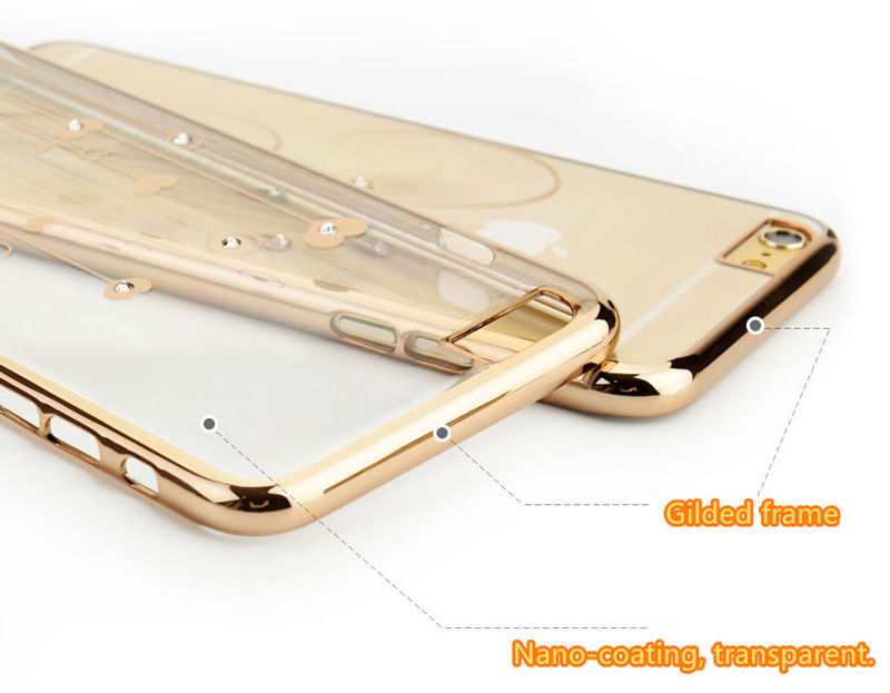 Ultra-thin Transparent Protective Sleeve Cases With Flower Diamond For iPhone 6 And Plus IPS625_12