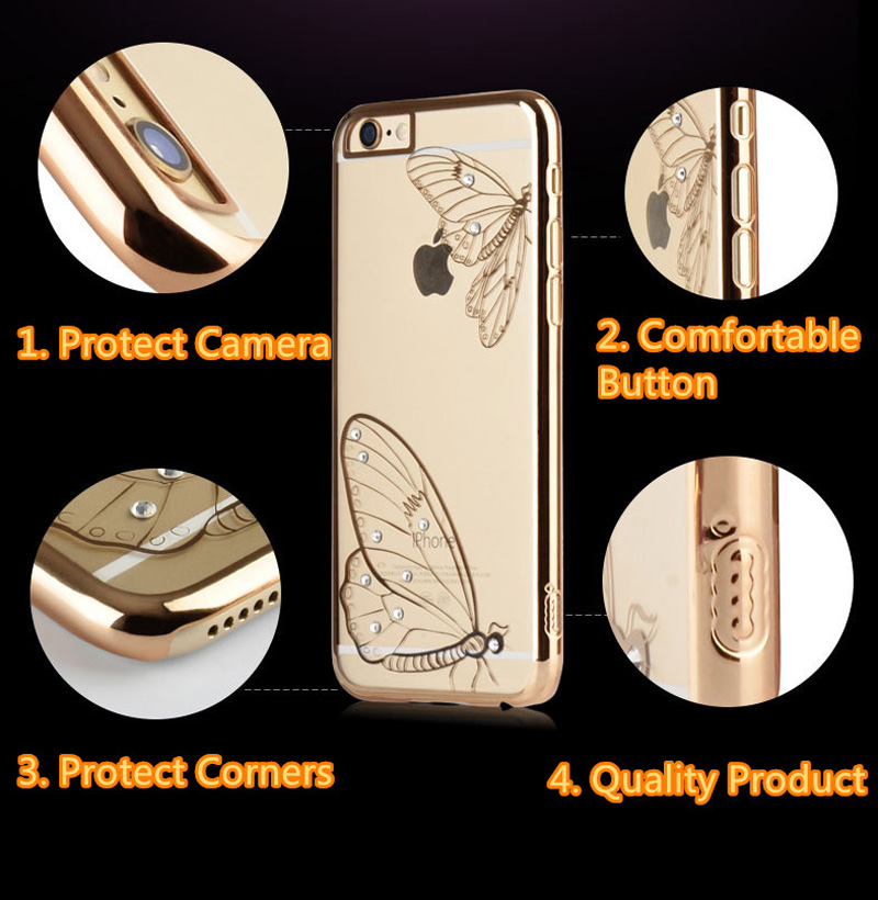 Ultra-thin Transparent Protective Sleeve Cases With Flower Diamond For iPhone 6 And Plus IPS625_13