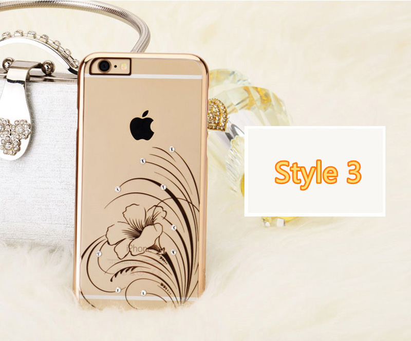 Ultra-thin Transparent Protective Sleeve Cases With Flower Diamond For iPhone 6 And Plus IPS625_16