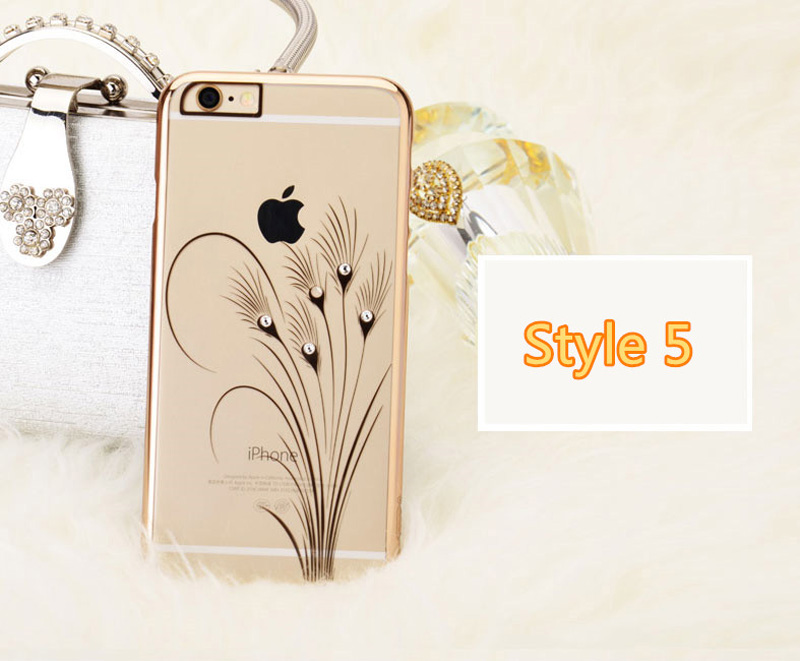 Ultra-thin Transparent Protective Sleeve Cases With Flower Diamond For iPhone 6 And Plus IPS625_18