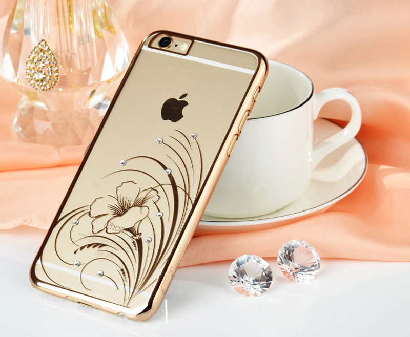 Ultra-thin Transparent Protective Sleeve Cases With Flower Diamond For iPhone 6 And Plus IPS625_20