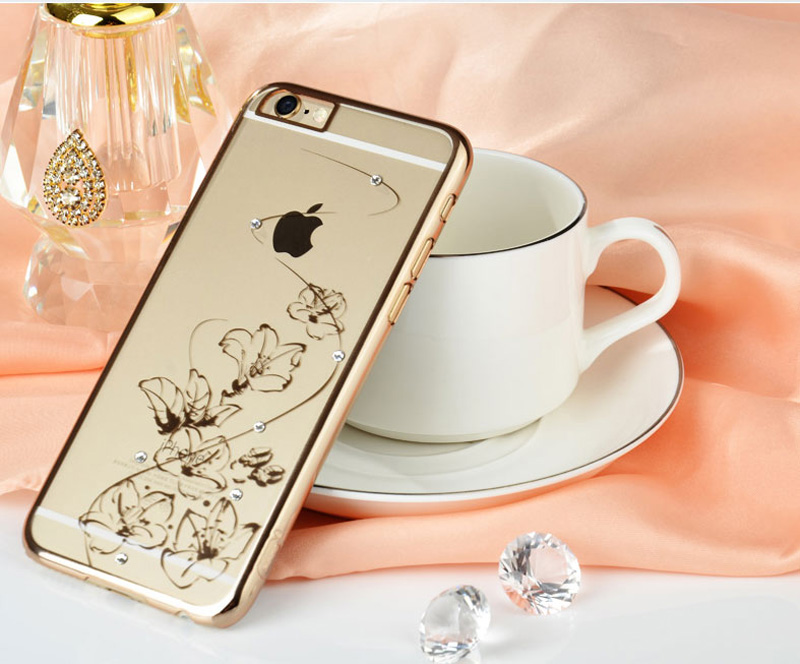 Ultra-thin Transparent Protective Sleeve Cases With Flower Diamond For iPhone 6 And Plus IPS625_21