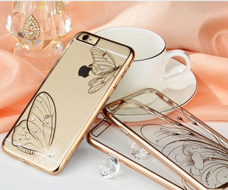 Ultra-thin Transparent Protective Sleeve Cases With Flower Diamond For iPhone 6 And Plus IPS625_22