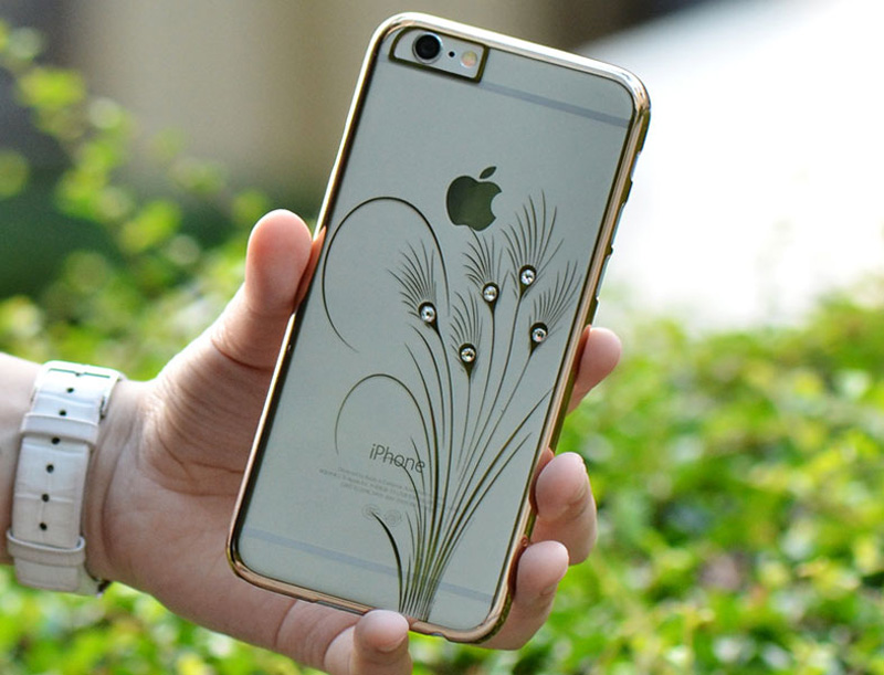 Ultra-thin Transparent Protective Sleeve Cases With Flower Diamond For iPhone 6 And Plus IPS625_24