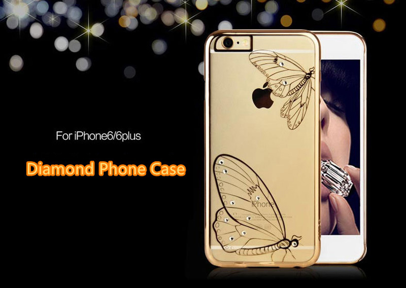 Ultra-thin Transparent Protective Sleeve Cases With Flower Diamond For iPhone 6 And Plus IPS625_8