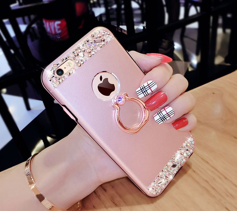 Rose Gold iPhone 8 7 6 And Plus Diamond Metal Protective Cases Covers IPS704_12