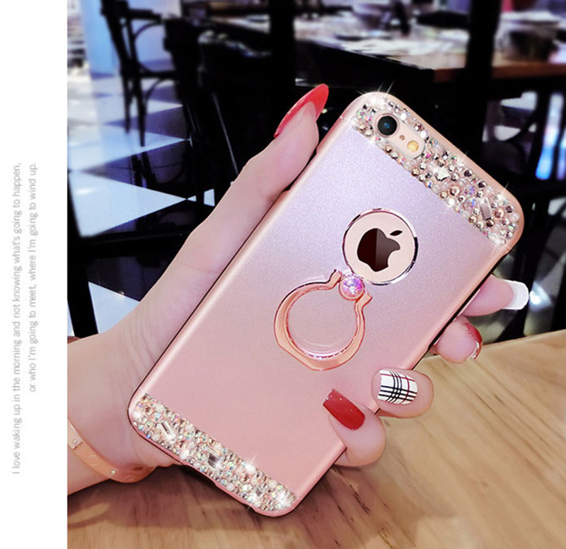 Rose Gold iPhone 8 7 6 And Plus Diamond Metal Protective Cases Covers IPS704_13