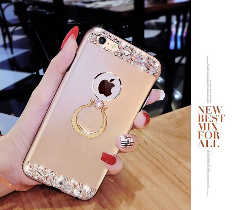 Rose Gold iPhone 8 7 6 And Plus Diamond Metal Protective Cases Covers IPS704_16