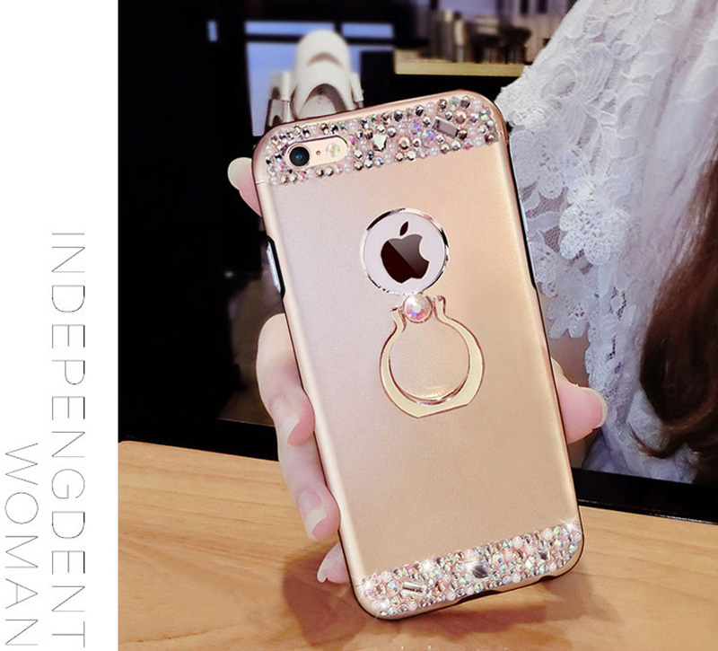 Rose Gold iPhone 8 7 6 And Plus Diamond Metal Protective Cases Covers IPS704_17