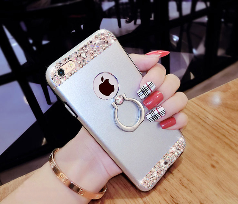 Rose Gold iPhone 8 7 6 And Plus Diamond Metal Protective Cases Covers IPS704_18