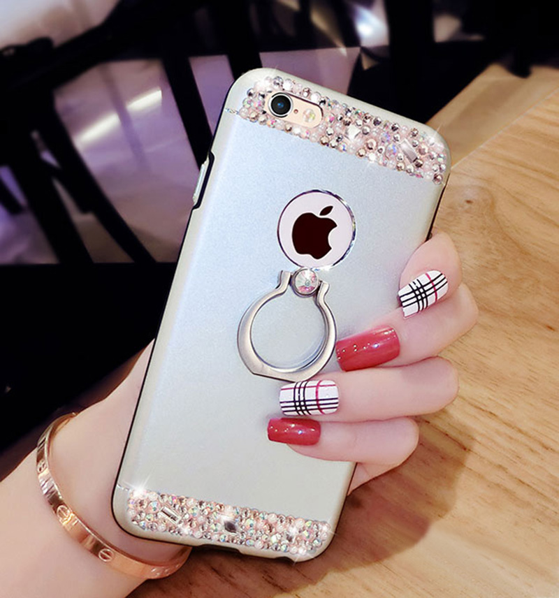 Rose Gold iPhone 8 7 6 And Plus Diamond Metal Protective Cases Covers IPS704_19